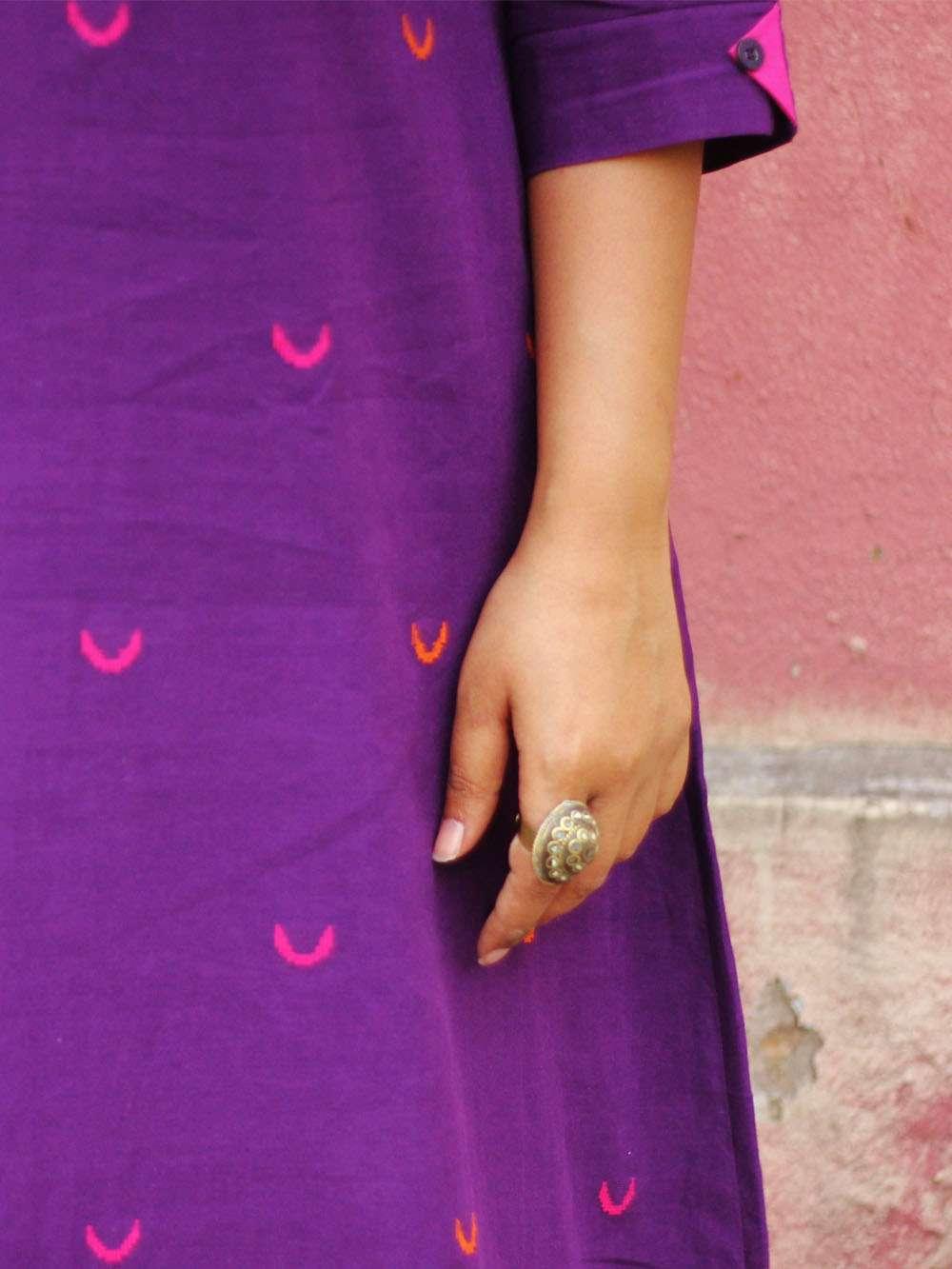 Handloom Cotton Crescent motif midi dress