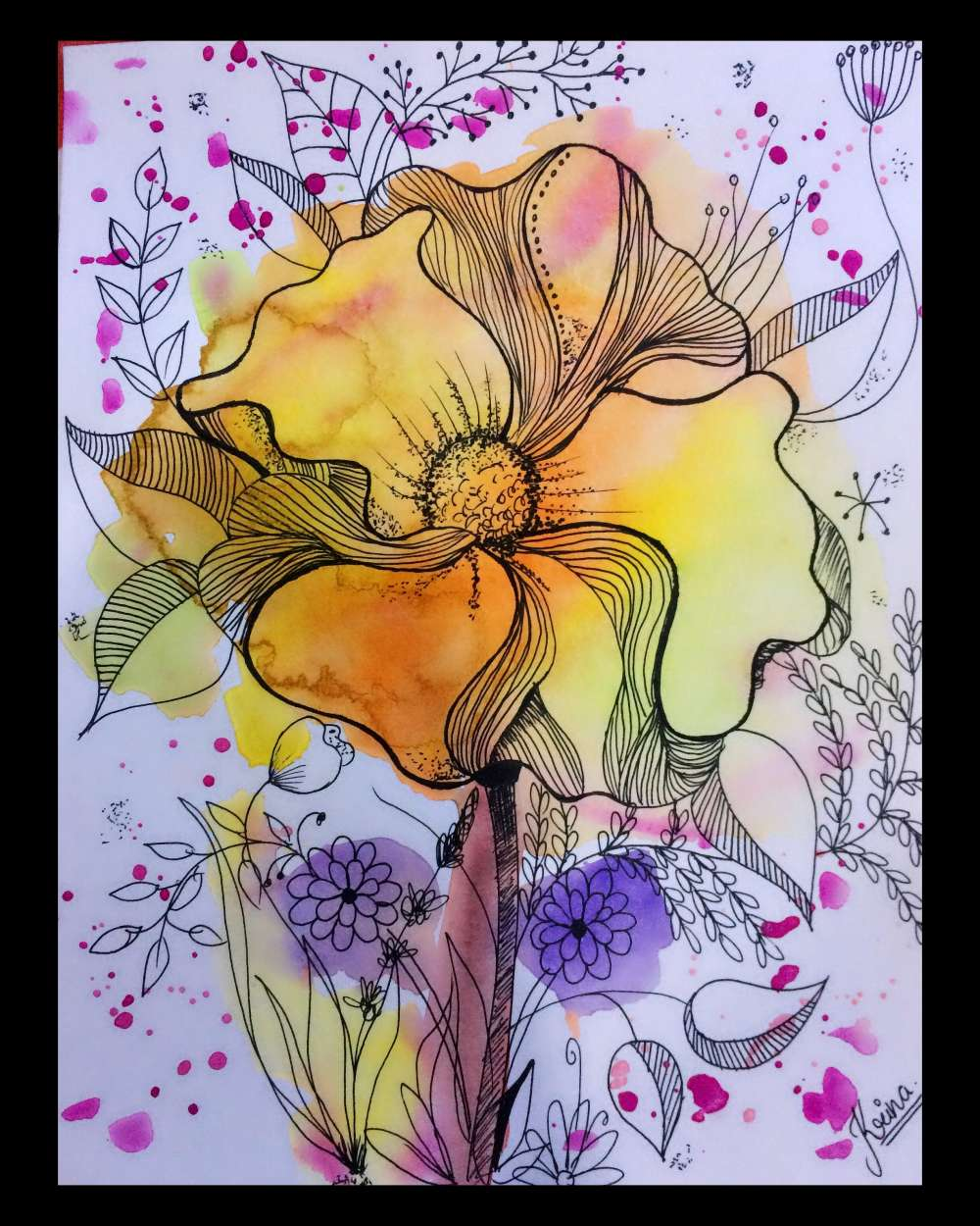 Watercolour background with flower doodle
