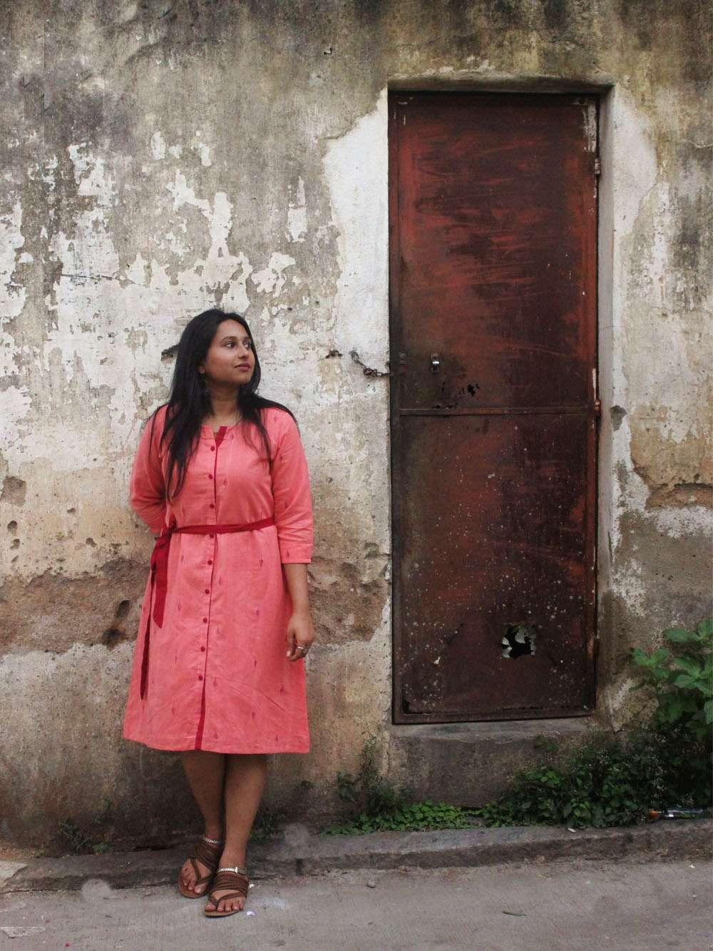 Handloom Cotton Jamdani - Button down dress