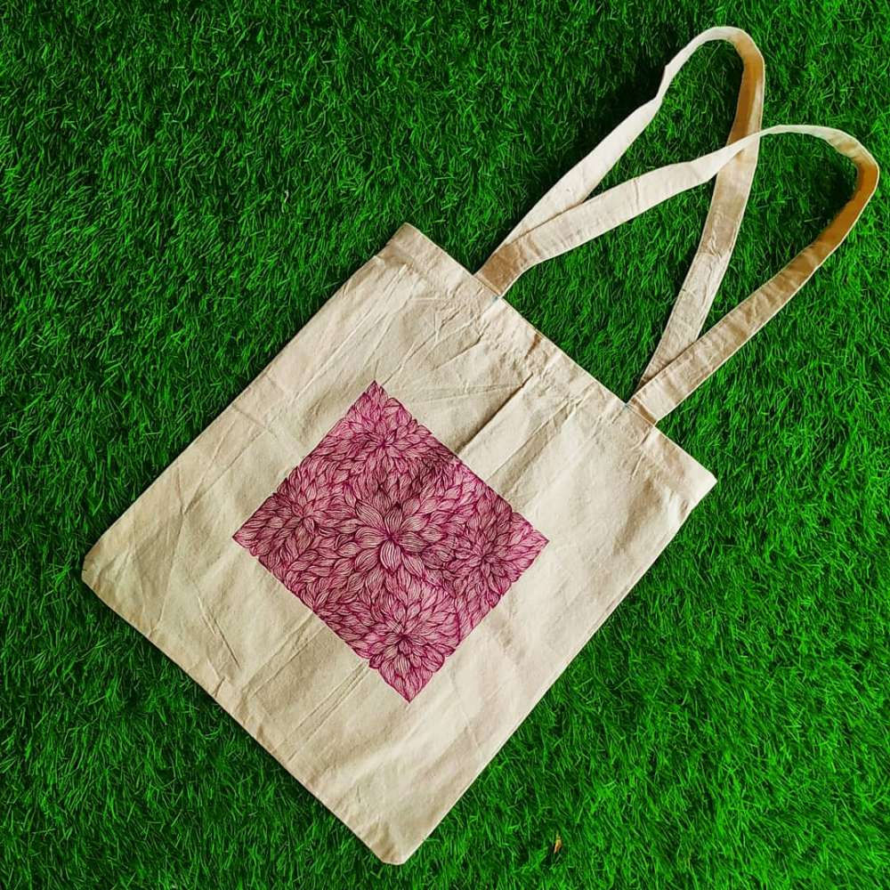 Hand-painted line pattern art on totebag