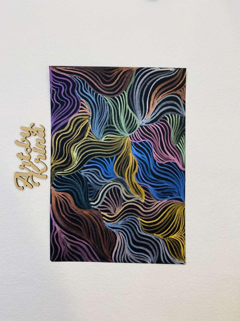 Metallic watercolor line illustration