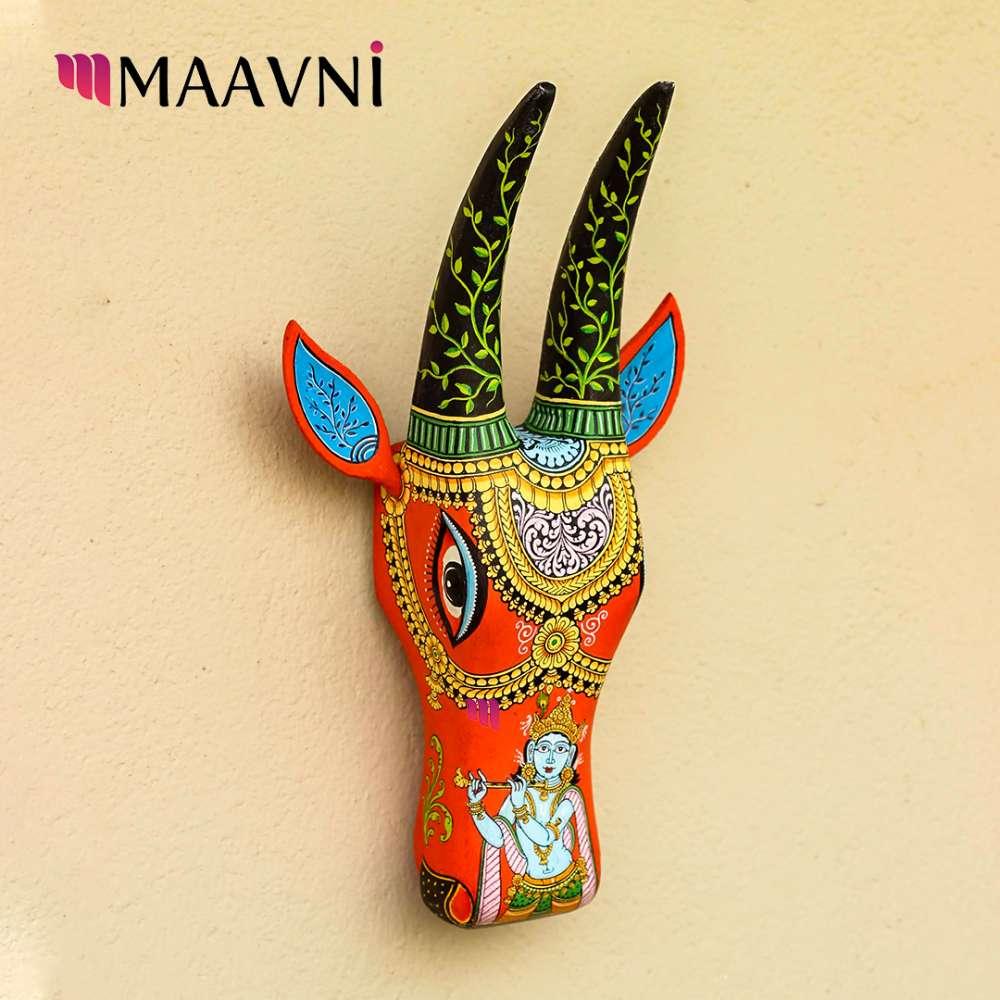 Shri Krishna Orange Cow Head 16 Inches