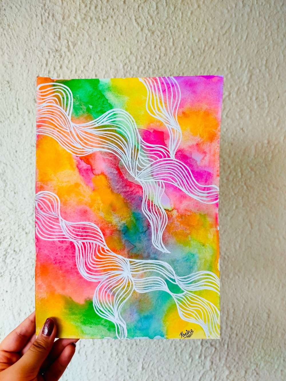 Watercolour background with line art illustration