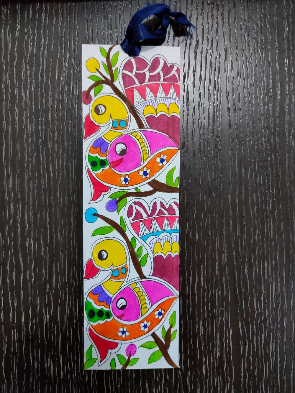 Duck and fish madhubani bookmark