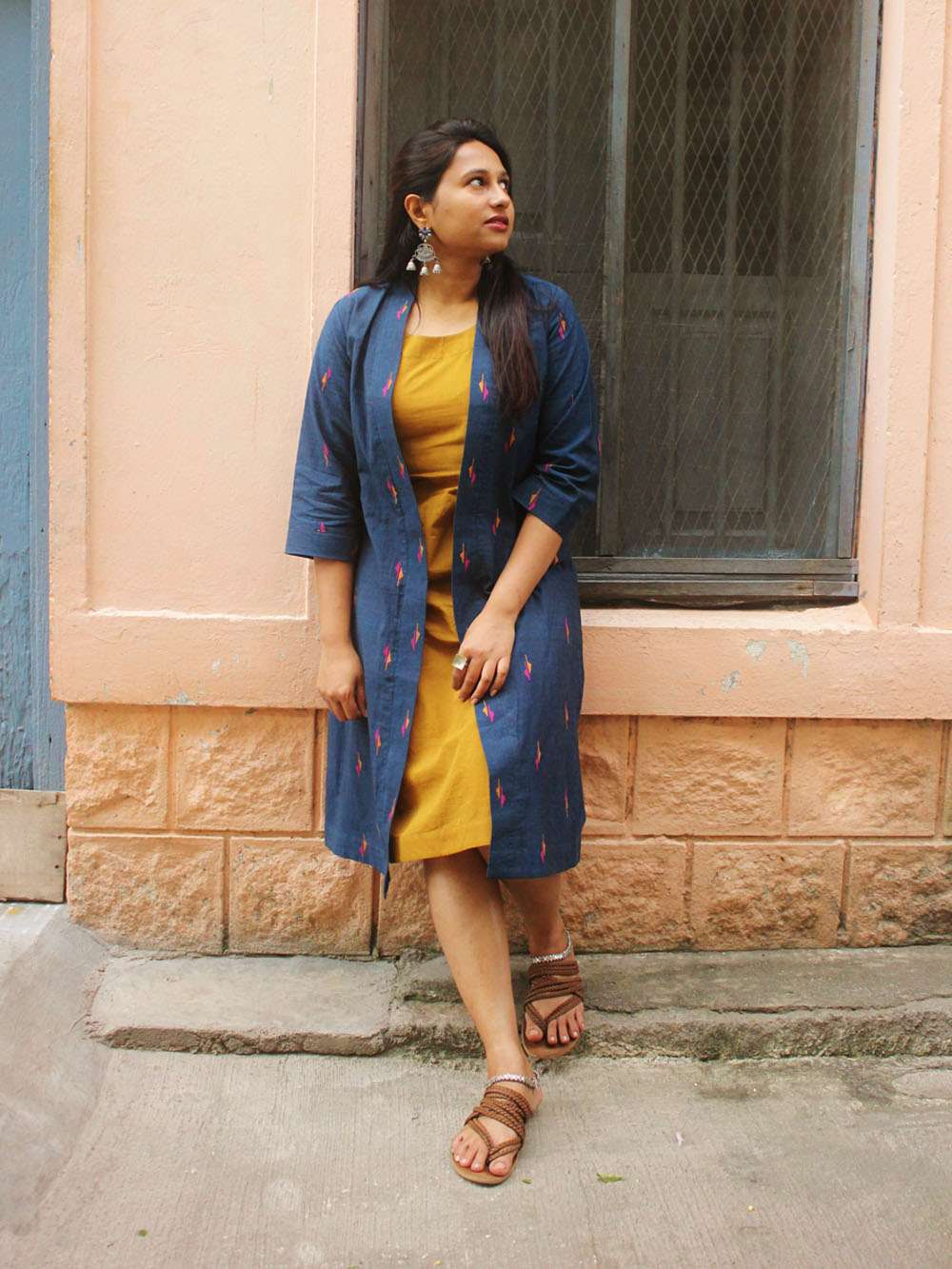 Handloom Cotton Jamdani layered dress