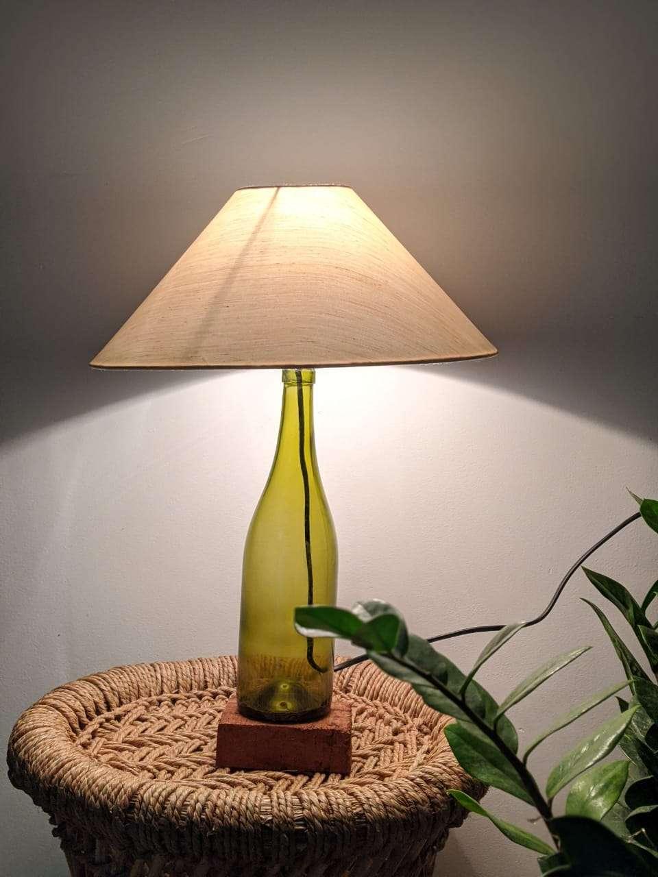 Upcycled bottle lamp