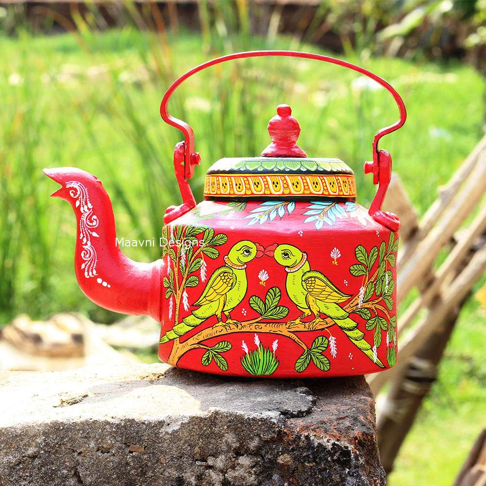 Handpainted Red Parrot Kettle
