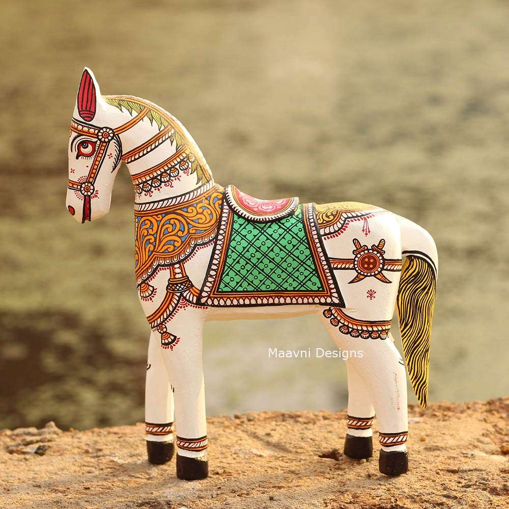 White Horse Pattachitra Painted 10 inches