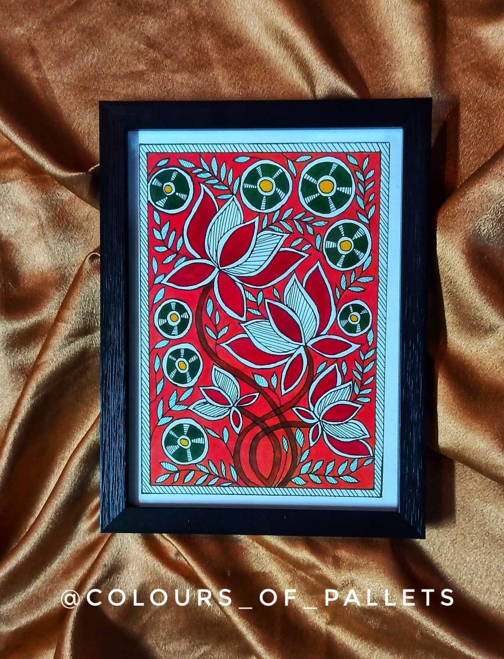 Madhubani ( Original painting print with frame)