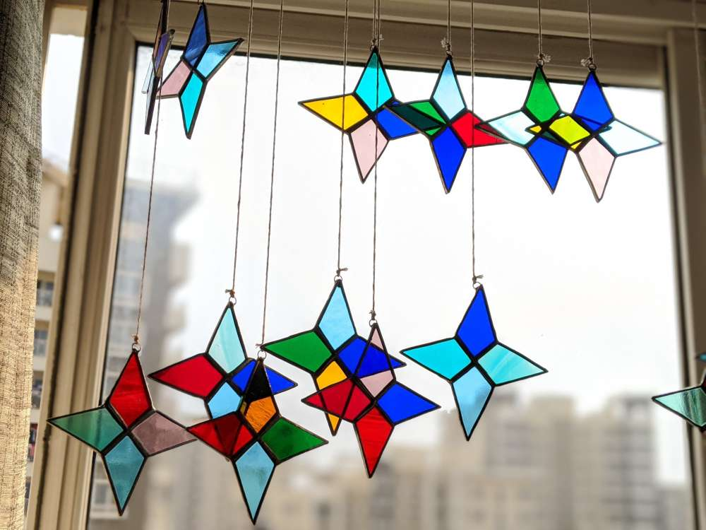 Stained glass star- Set of 4