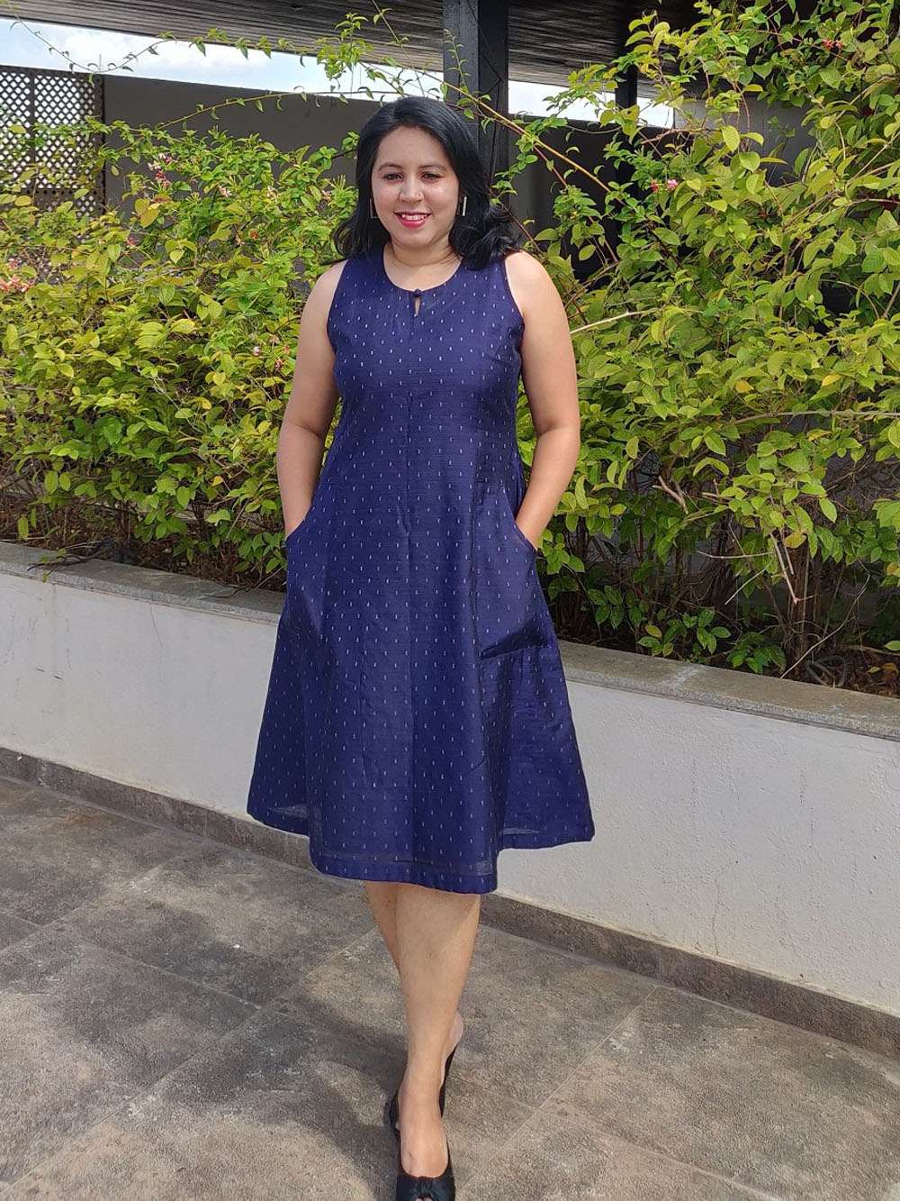 Midnight Blue Lurex Cotton Silk Dress