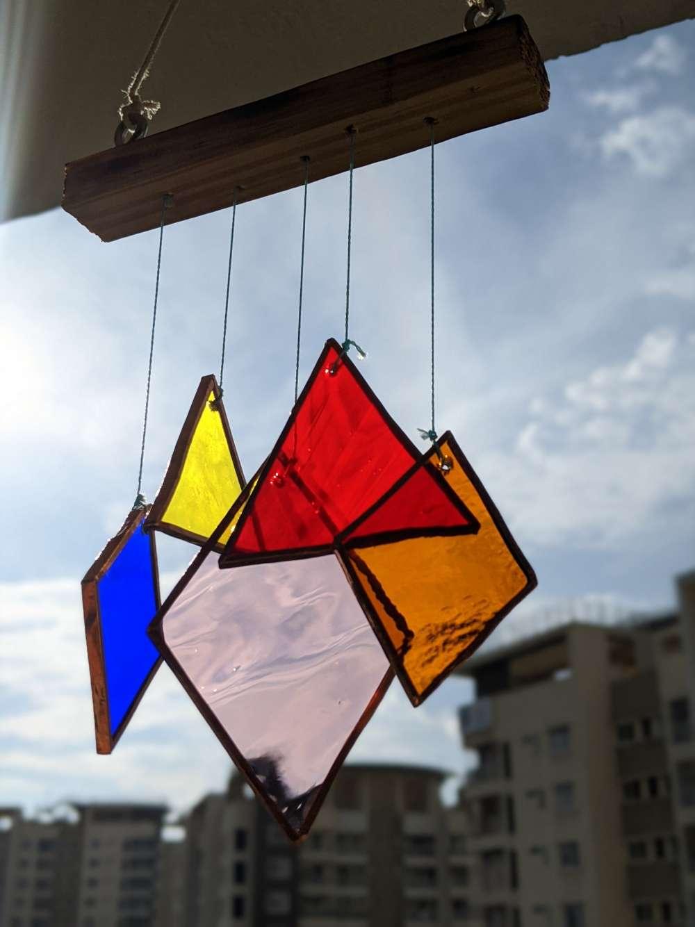 Mini rainbow windchime hanging