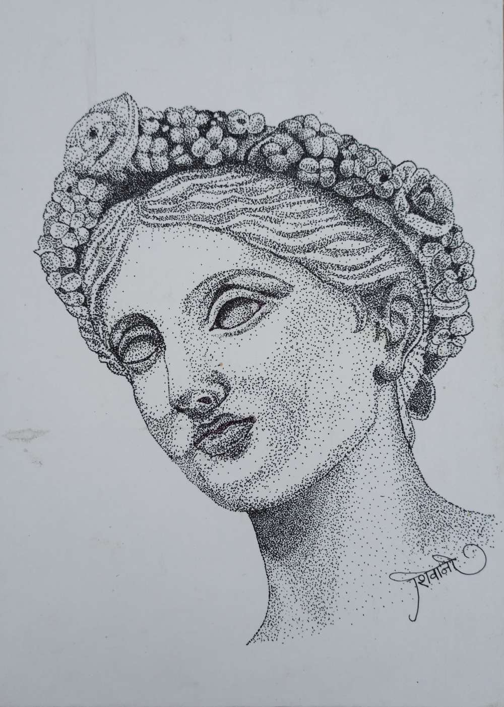 Stippling sketch of idol