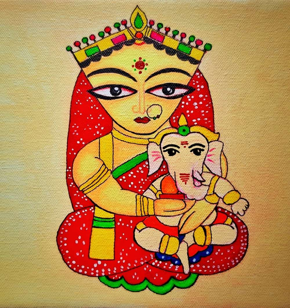 Goddess Parvati with Child Ganesha