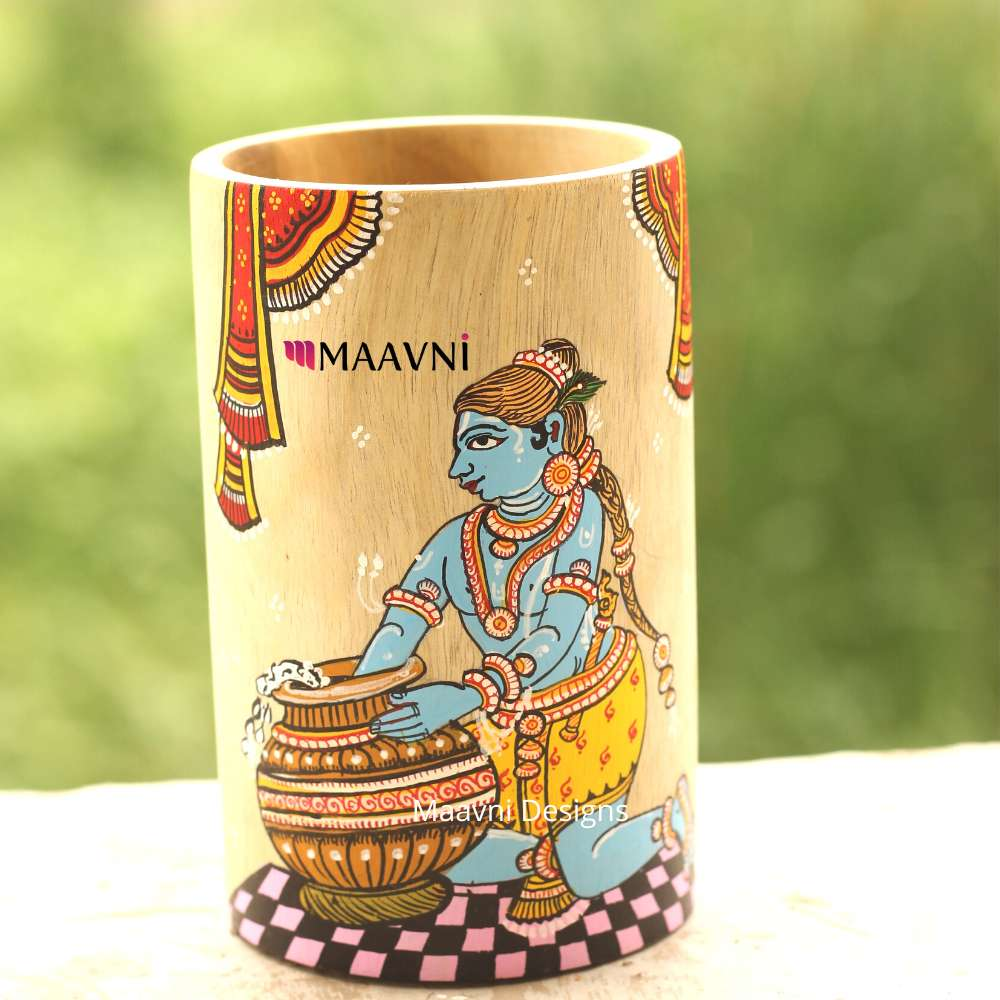 Krishna Eating Makhan Painting Brush Stand