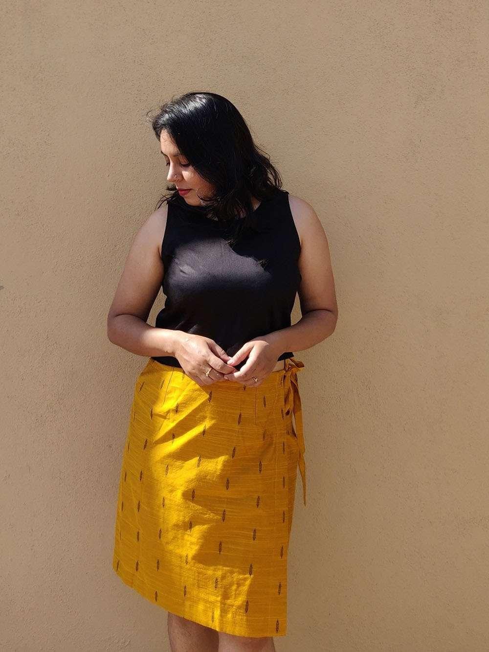 Mustard Yellow Cotton Silk Wrap Skirt and Black Crop