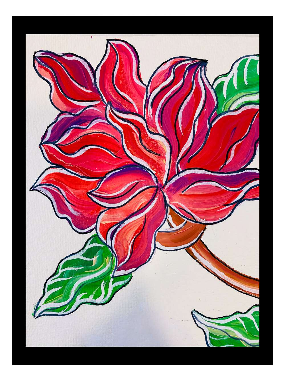 Flower gouache painting