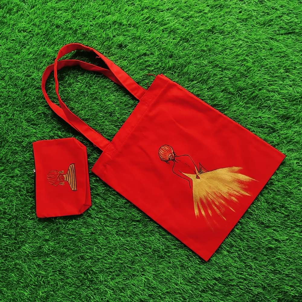 Hand painted golden lady on pouch and totebag