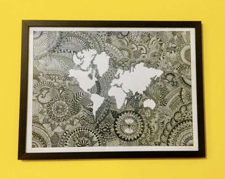 World map mandala art