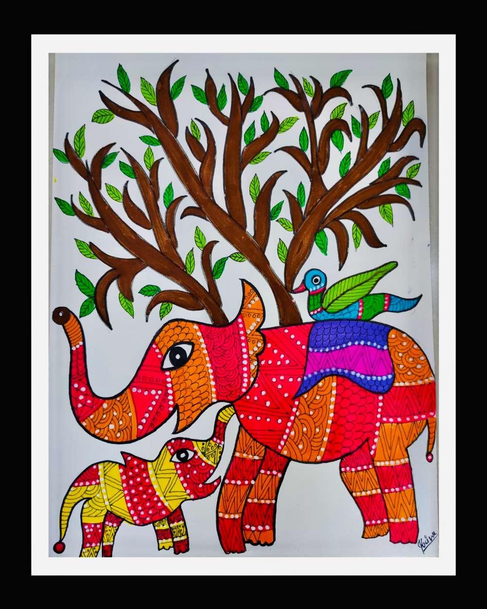 Elephant gond art
