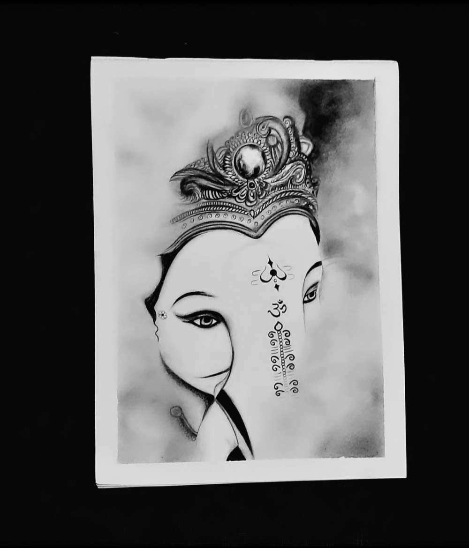 Ganesha Charcoal Painting