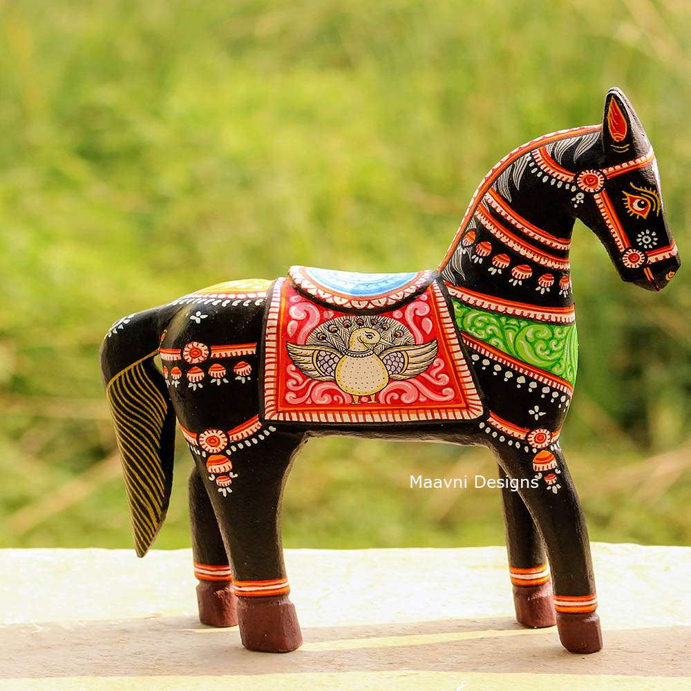 Black Horse Pattachitra Painted 10 inches