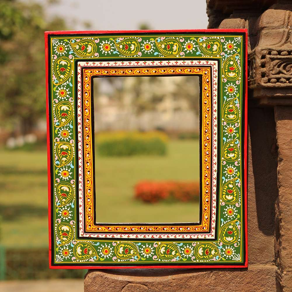 Handpainted Pattachitra Mirror Frame Green Red