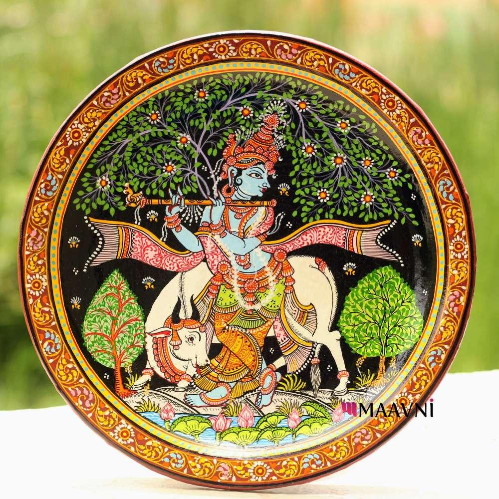 Krishna Cow Wallplate 10 Inches