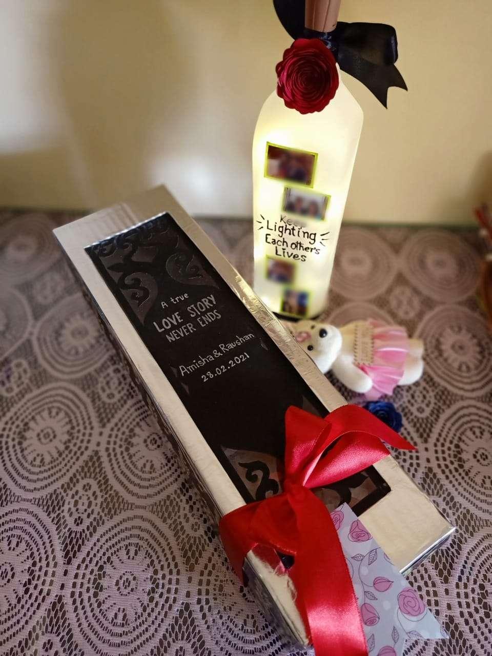 Customised light bottle with handmade gift box