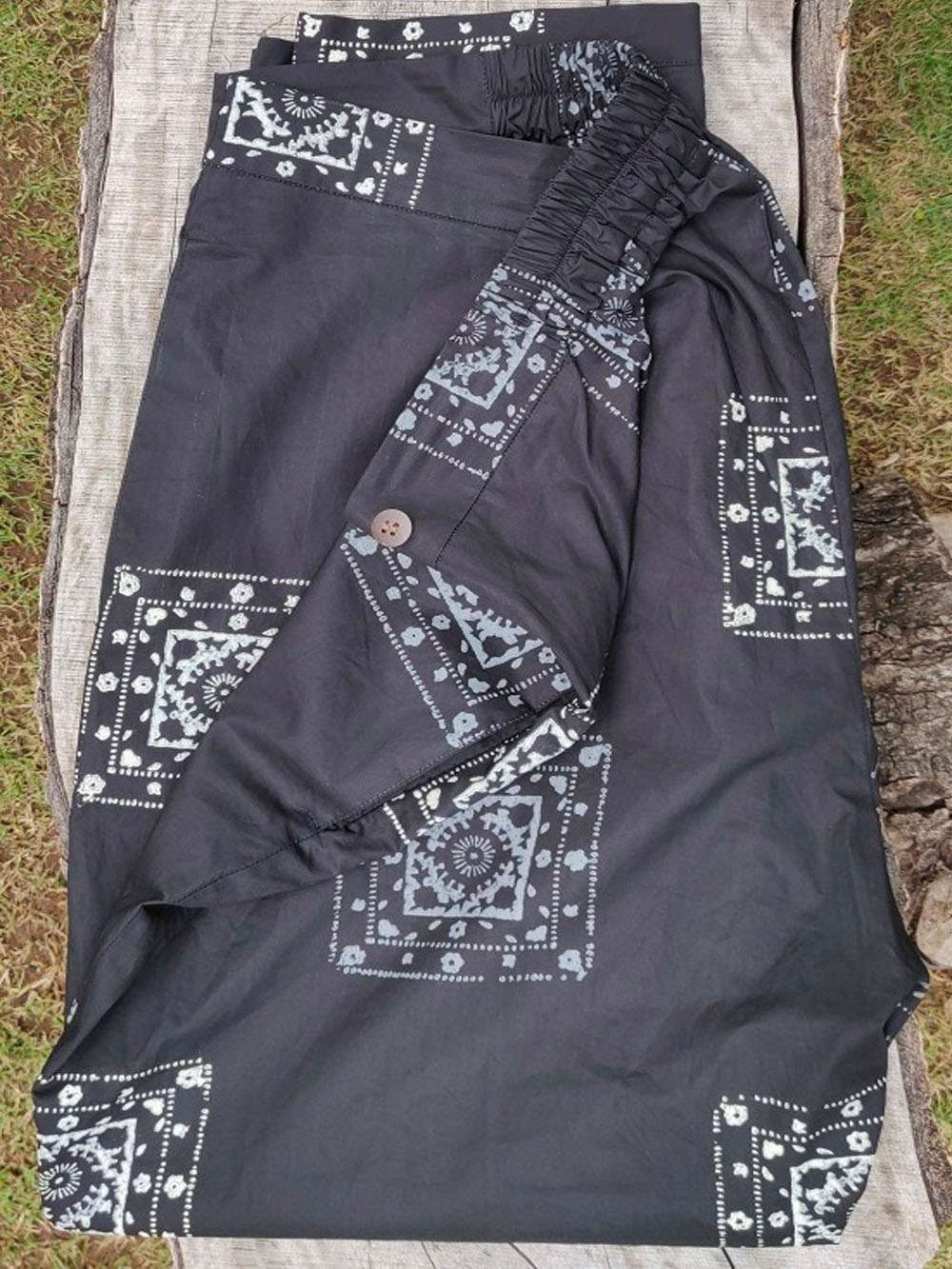 Smokey black hand block printed pants
