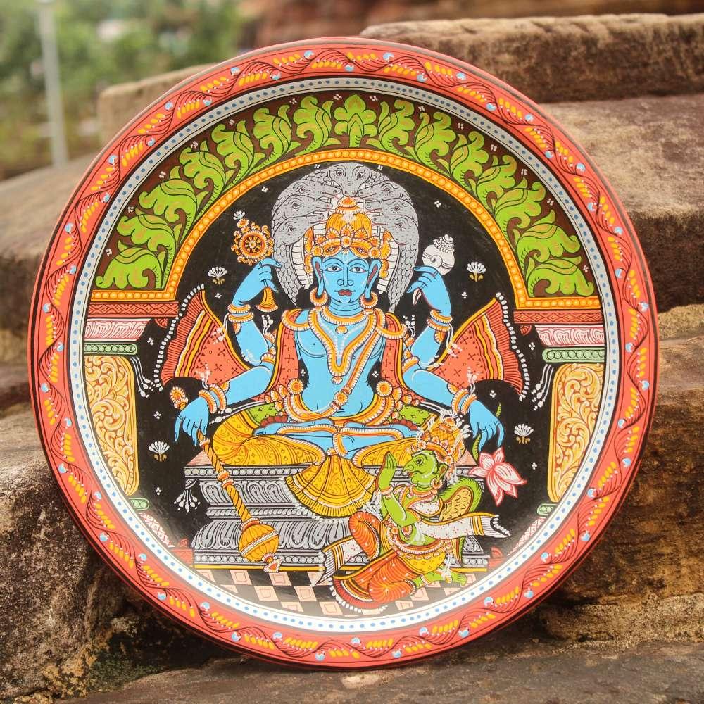 Lord Vishnu Siting Wallplate