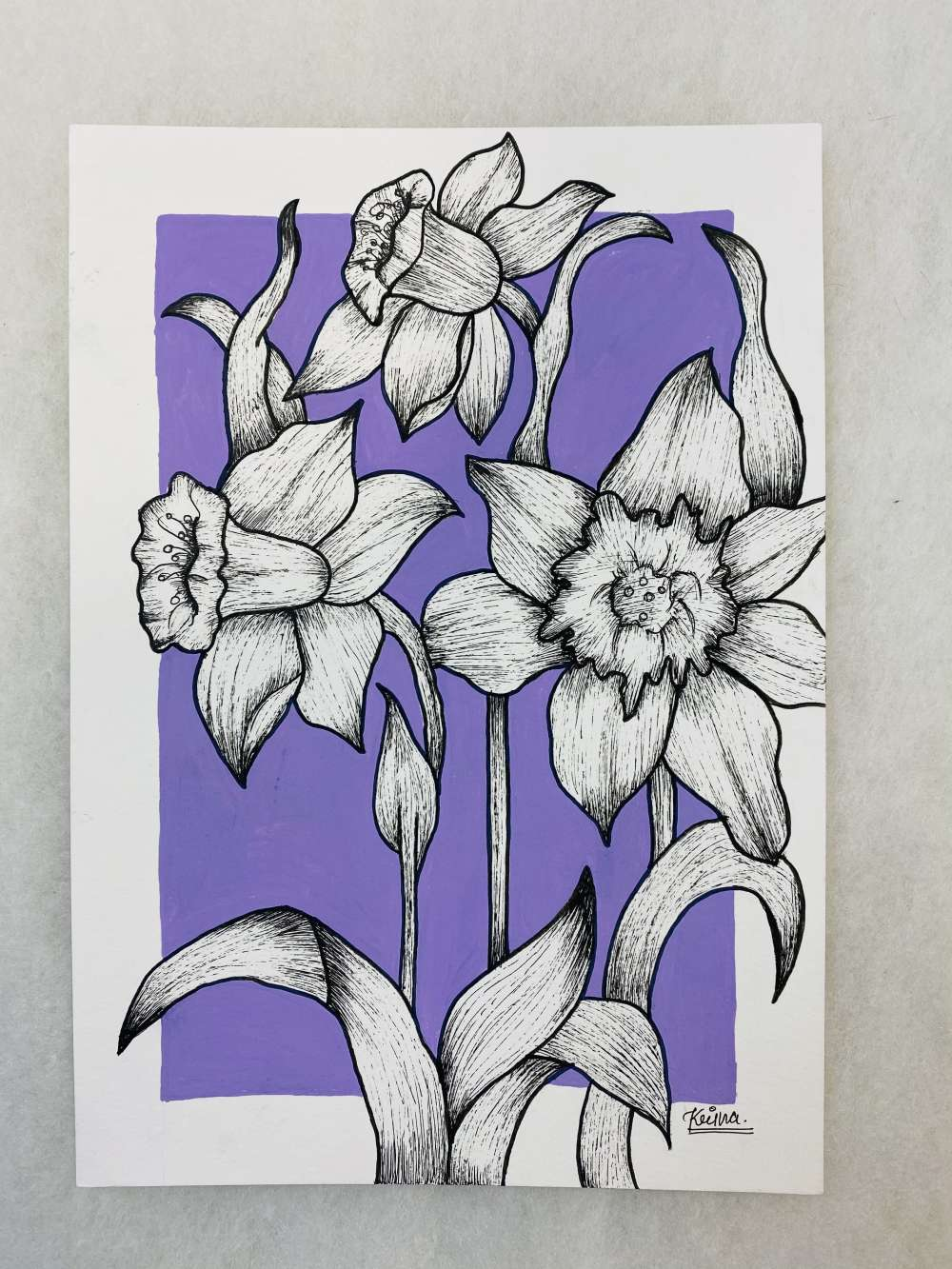 Pasteines flowers (Pastel color background with lines)