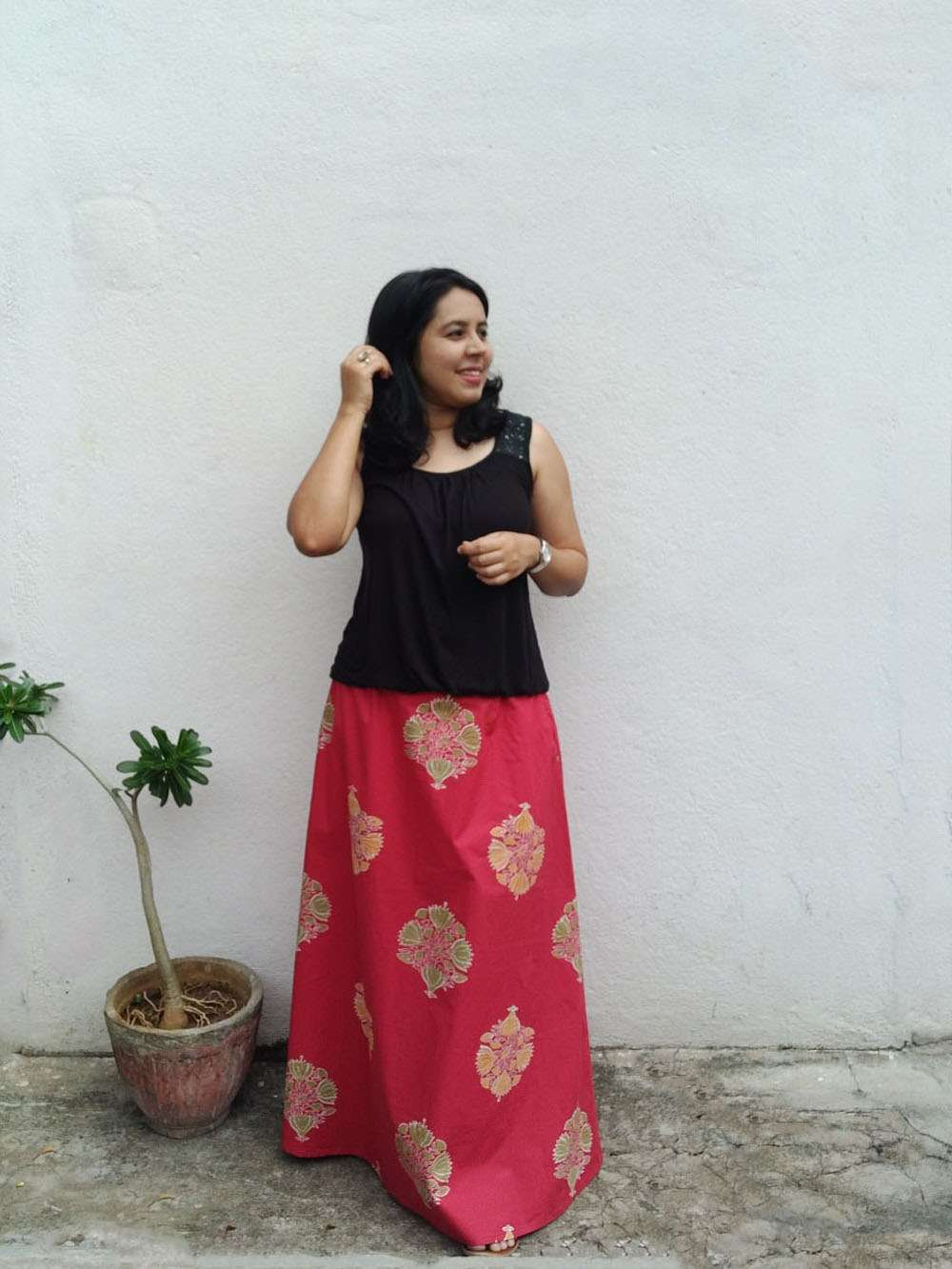 Scarlet red hand block printed cotton A-line skirt