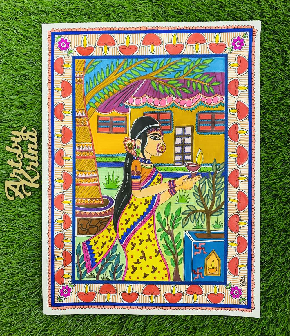 Diwali theme madhubani painting