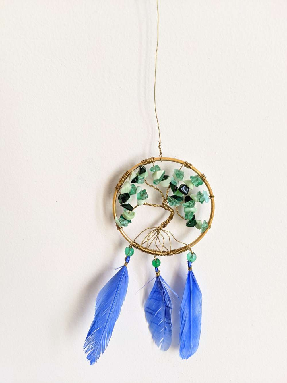 Tree of life hanging- Blue feathers
