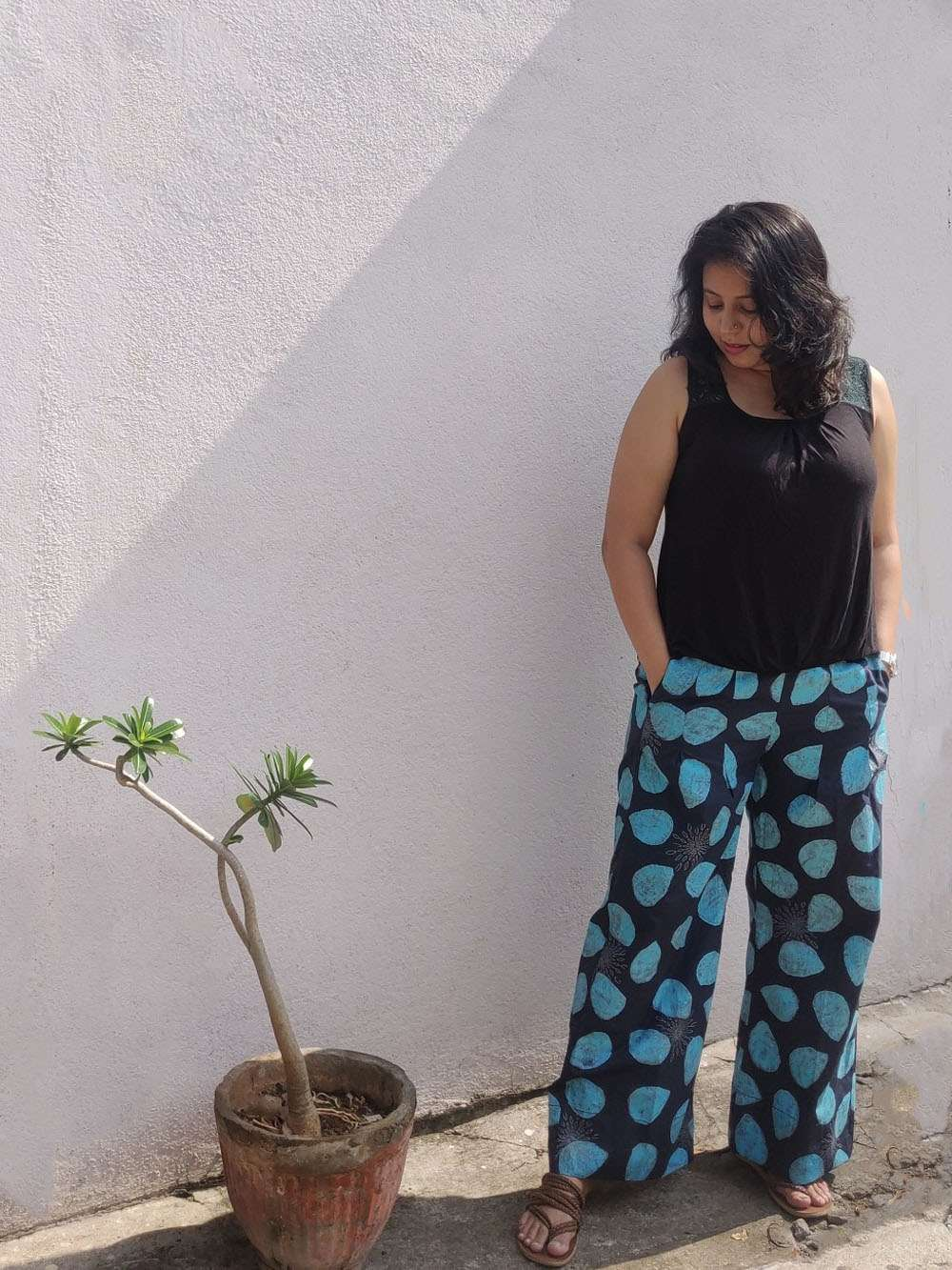 Midnight Blue hand block printed cotton pants