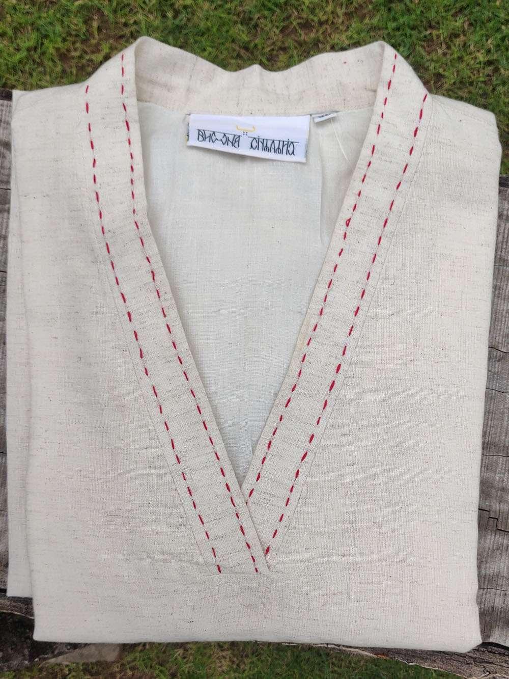 Overlapping V neck Cotton collar kurta