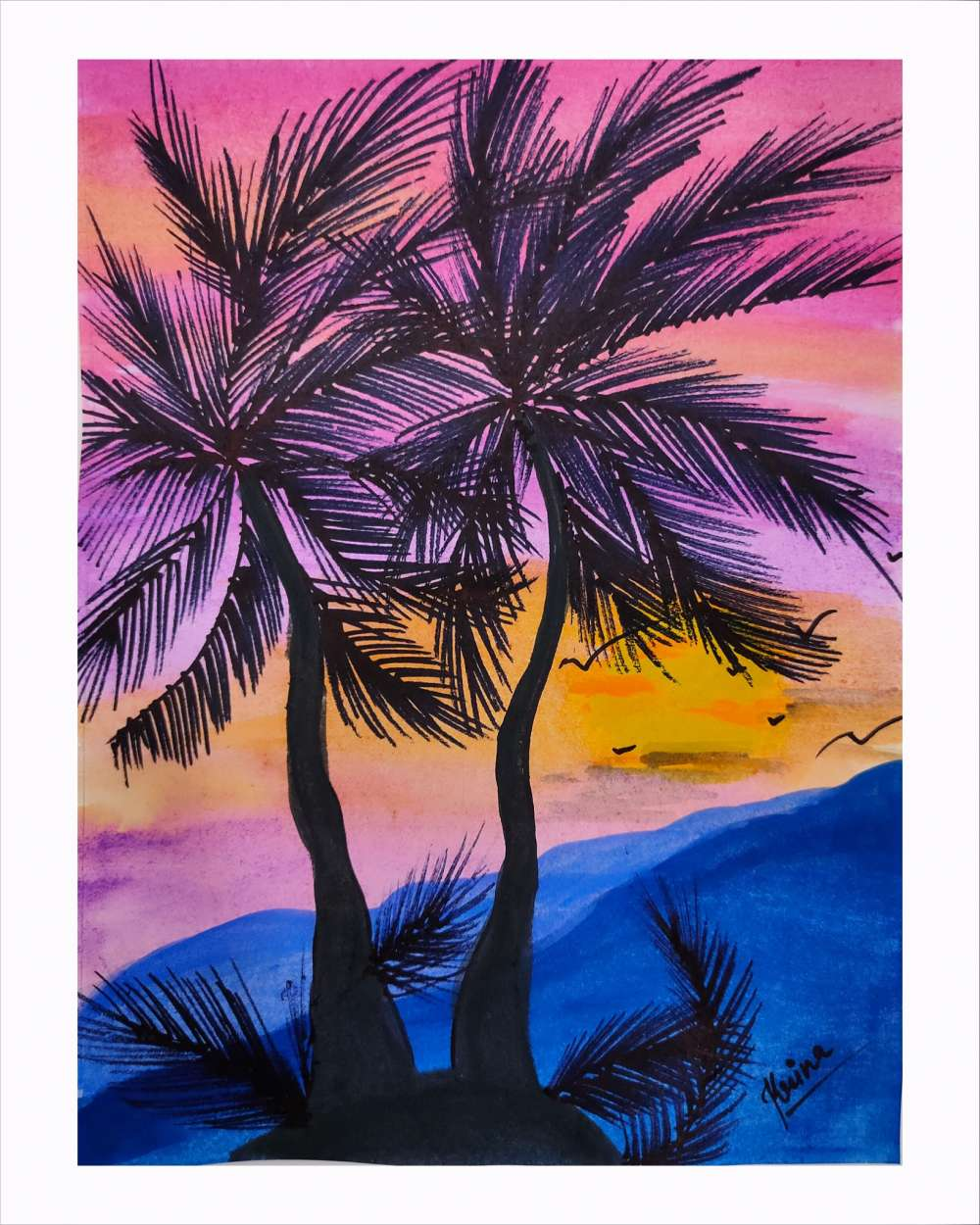Coconut tree watercolour painting