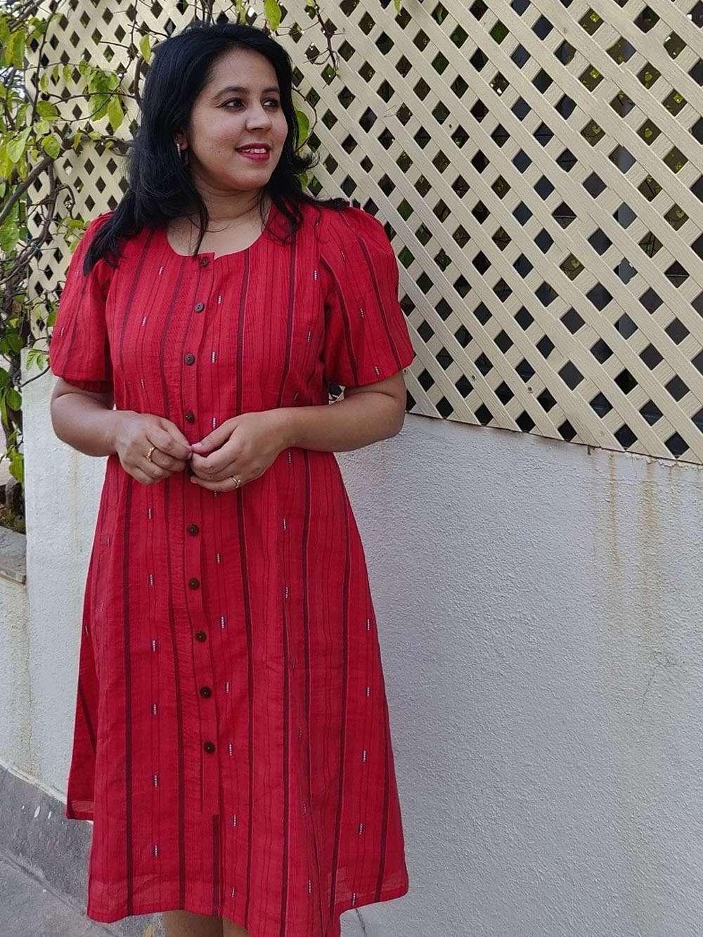 Cherry Red Chanderi Button down Dress