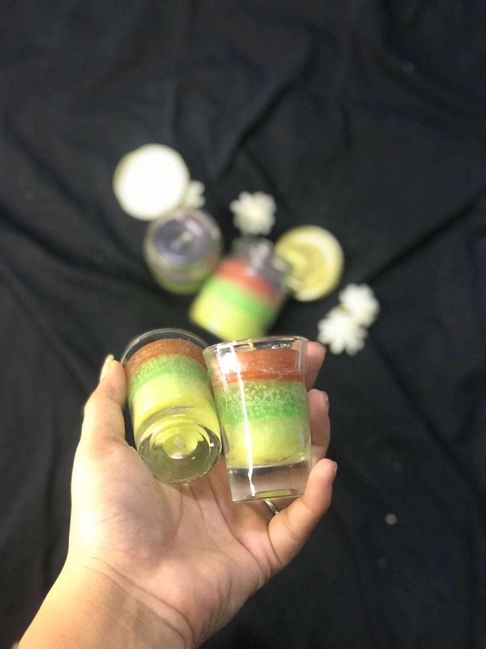 Multi colour jar candle