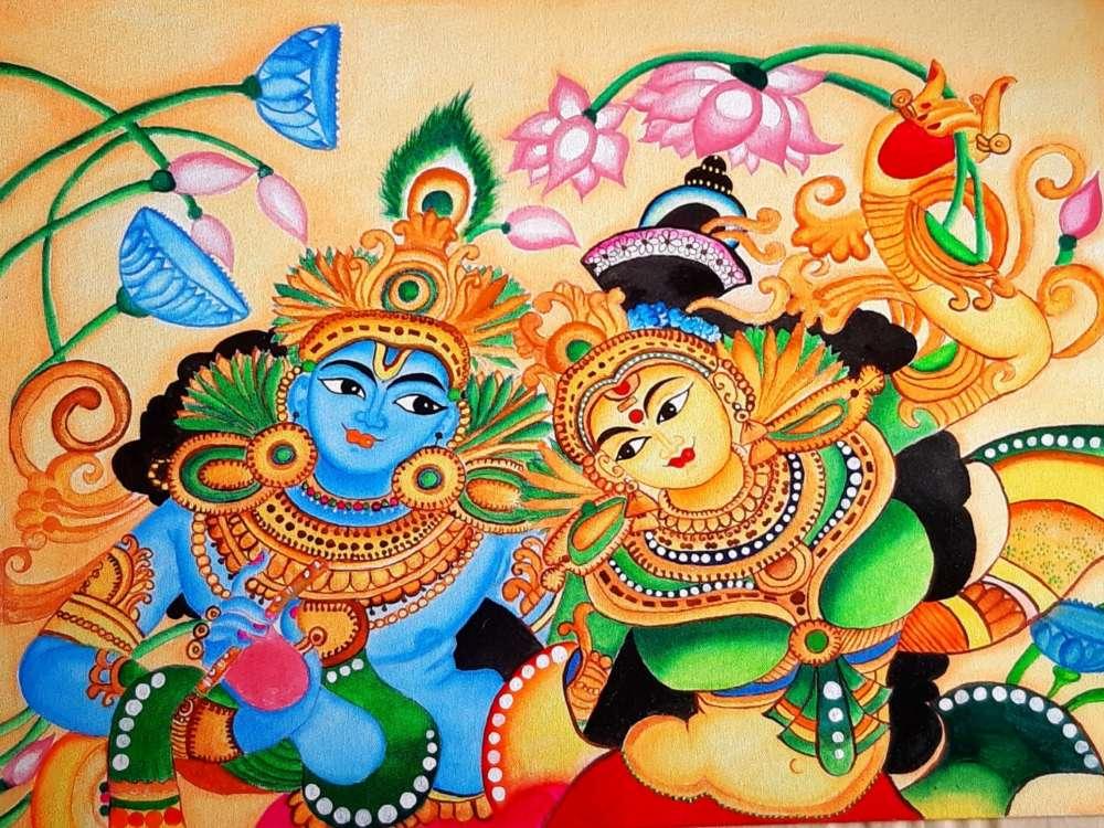 Canvas painting radha krishna mural art