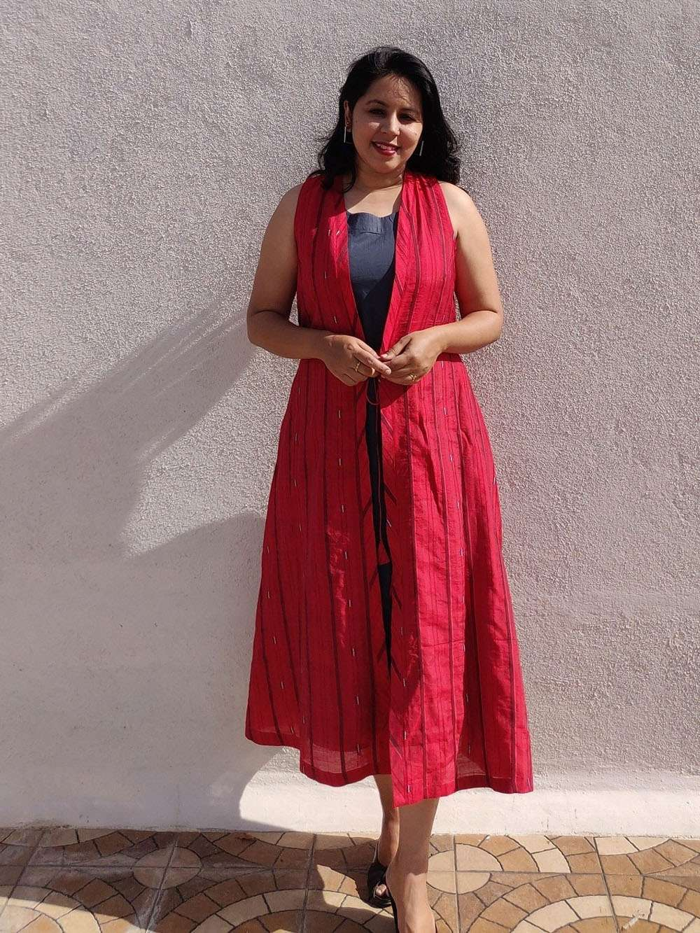 Grey and Red Chanderi A- Line layered dress