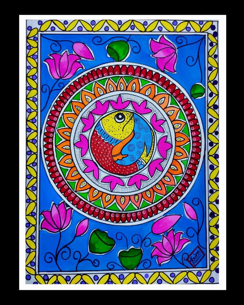 Fish Madhubani art
