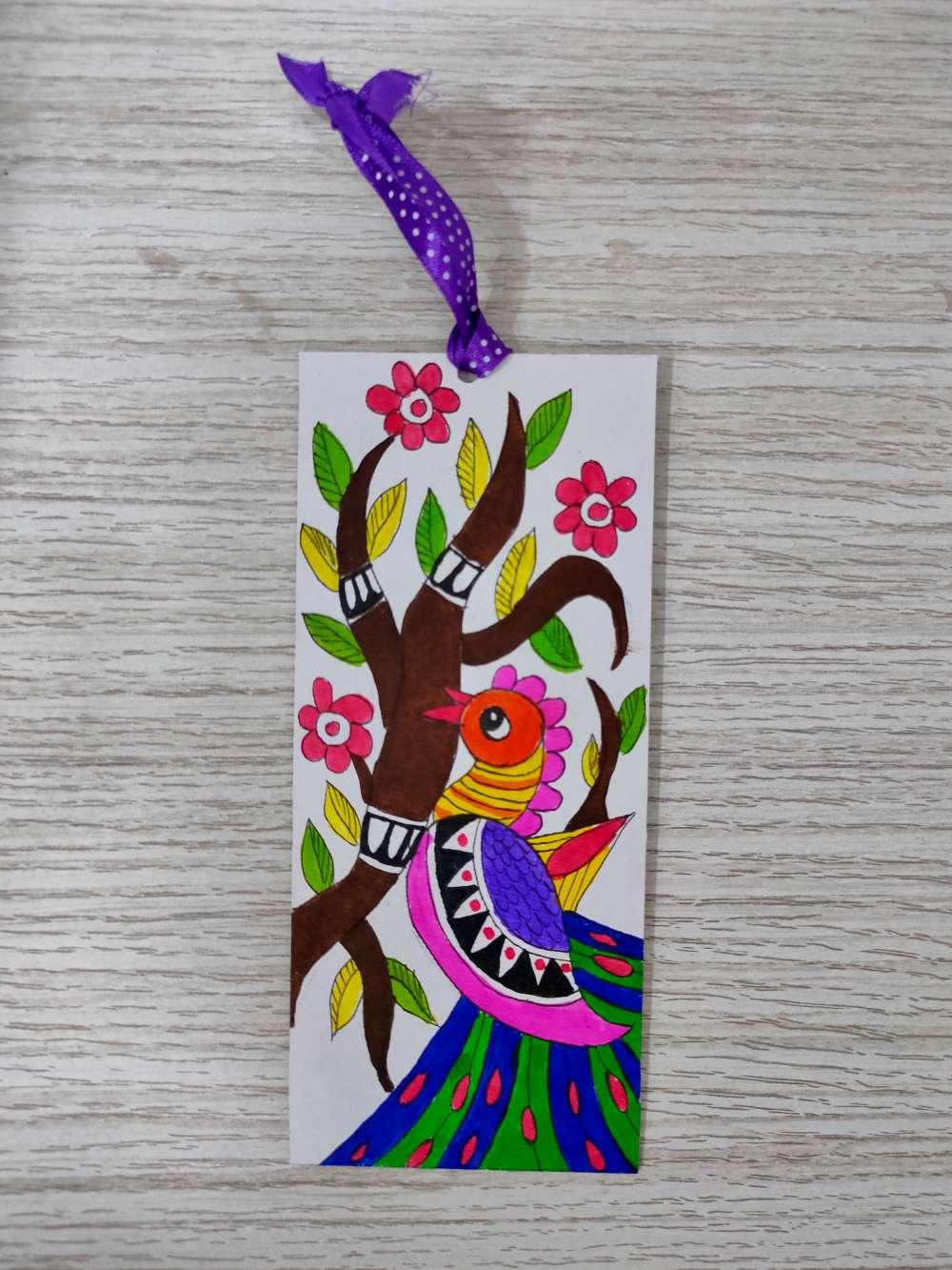 Peacock Madhubani bookmark